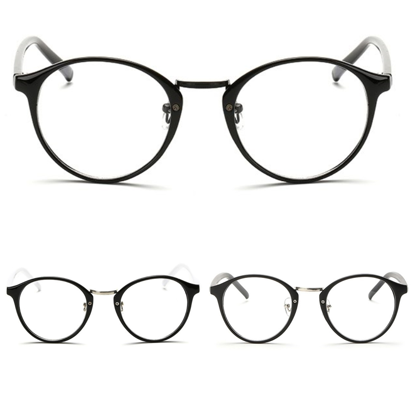 0d7b327541ab New Unisex Mens Womens Round Oval metal bridge plastic frame Clear lens  Glasses