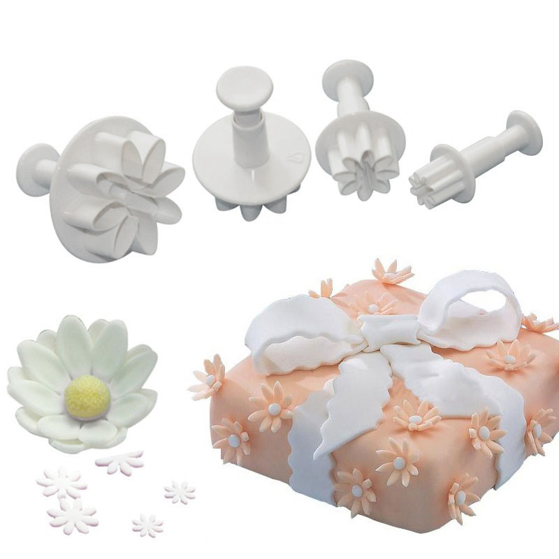 4Pcs Daisy Flower Fondant Cake Cutter Decorating Baking ...