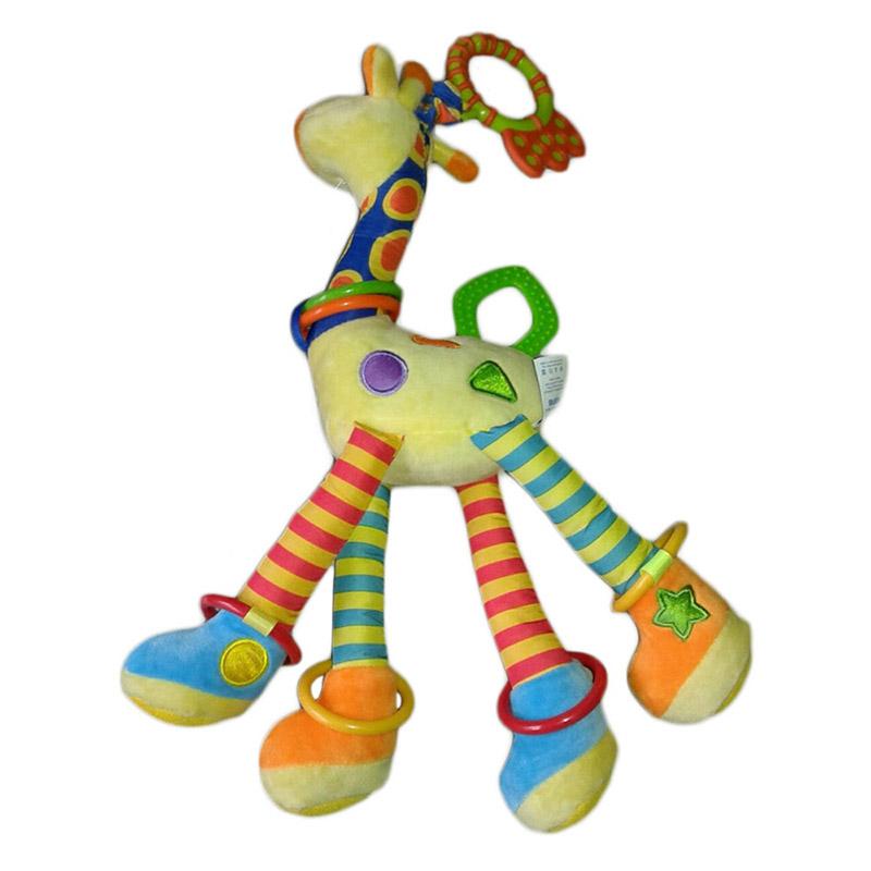 Baby giraffe plüschtier beißring glocke spielzeug