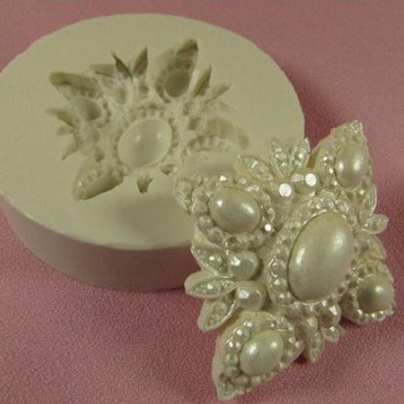 Vintage Fondant Cake Design : Brooch Diamond Vintage Silicone Mould Fondant Cake ...