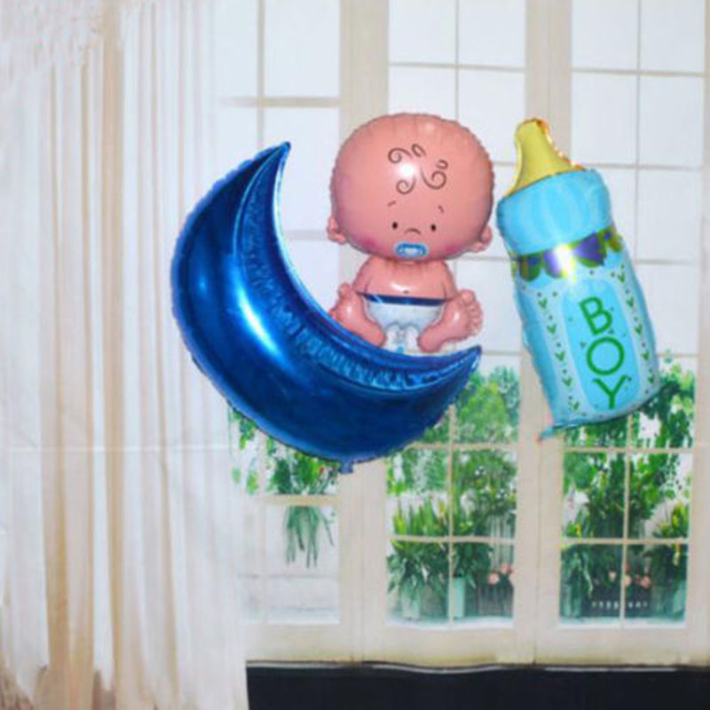 Boy girl baby shower foil helium balloon christening for Balloon decoration for birthday boy