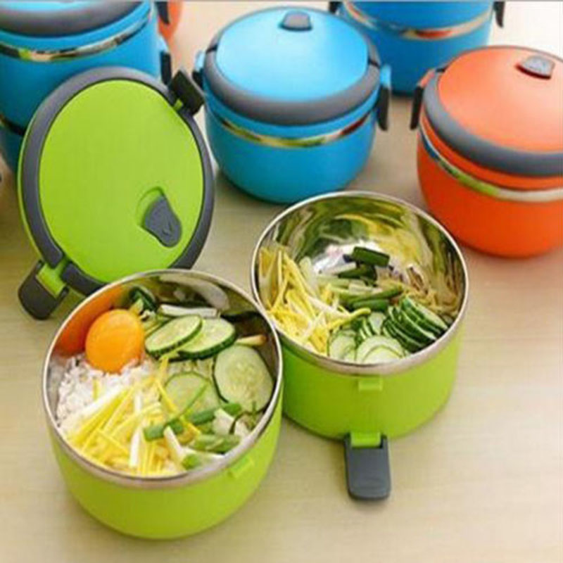 4 layers thermal insulated stainless steel lunch box bento food handle container ebay. Black Bedroom Furniture Sets. Home Design Ideas