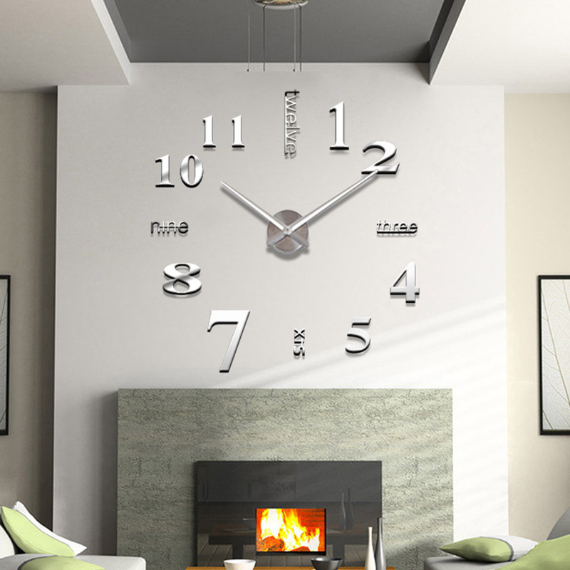 large luxury 3d mirror wall sticker clock home decoration living room