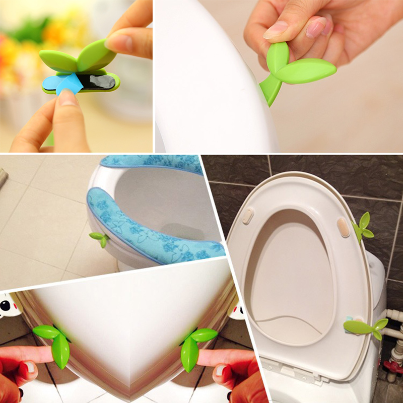 1PC Cute Leaf Shape Handle Hygienic Toilet Seat Lifter Self Adhesive Lift Low