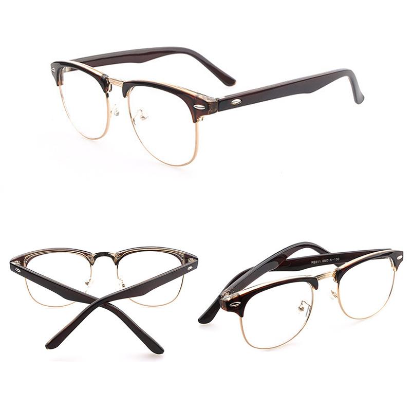 Clean Half Frame Glasses : Retro Style Half Frame Lens Clear Reading Glasses Geek ...