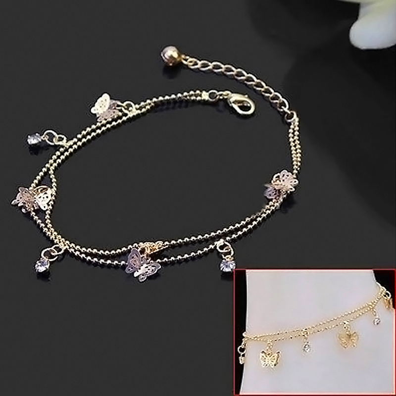 Elegant Simple Gold Butterfly Charm Sexy Anklet Foot Chain ...