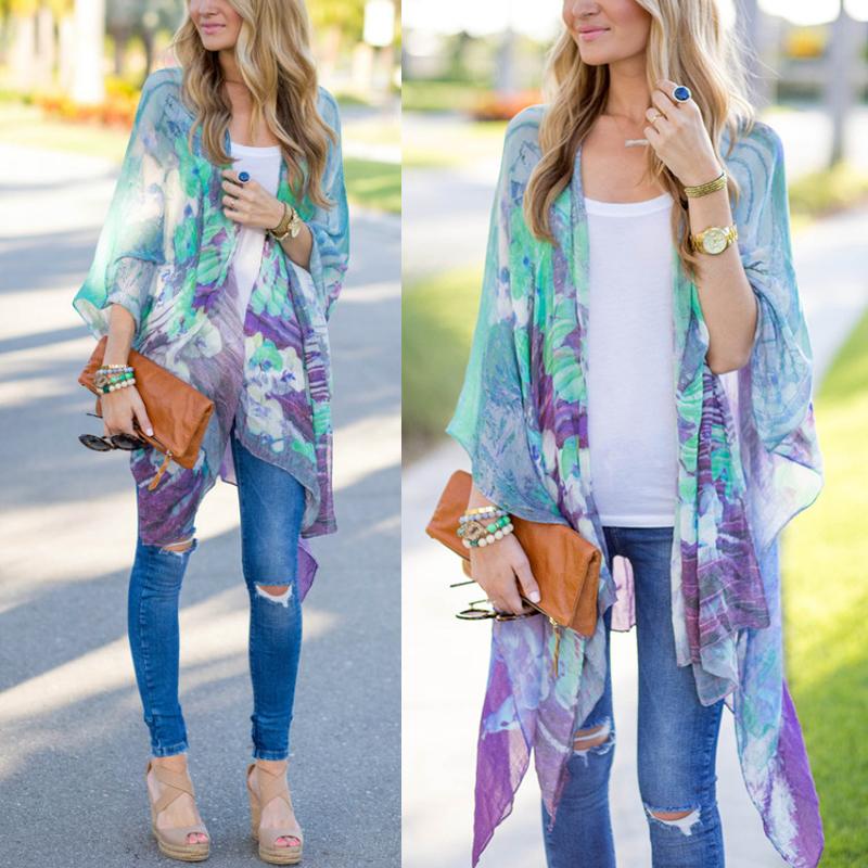 Damen floral schal kimono cardigan chiffon boho mantel for Kimono jacke damen