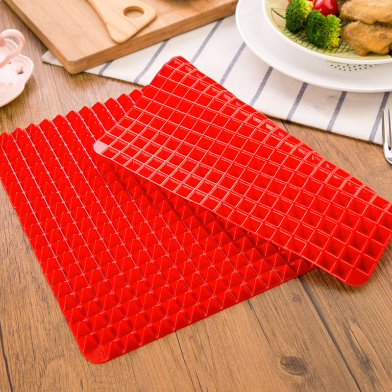 red pyramid pan silicone baking mat mould cooking mat oven baking tray nonstick ebay. Black Bedroom Furniture Sets. Home Design Ideas