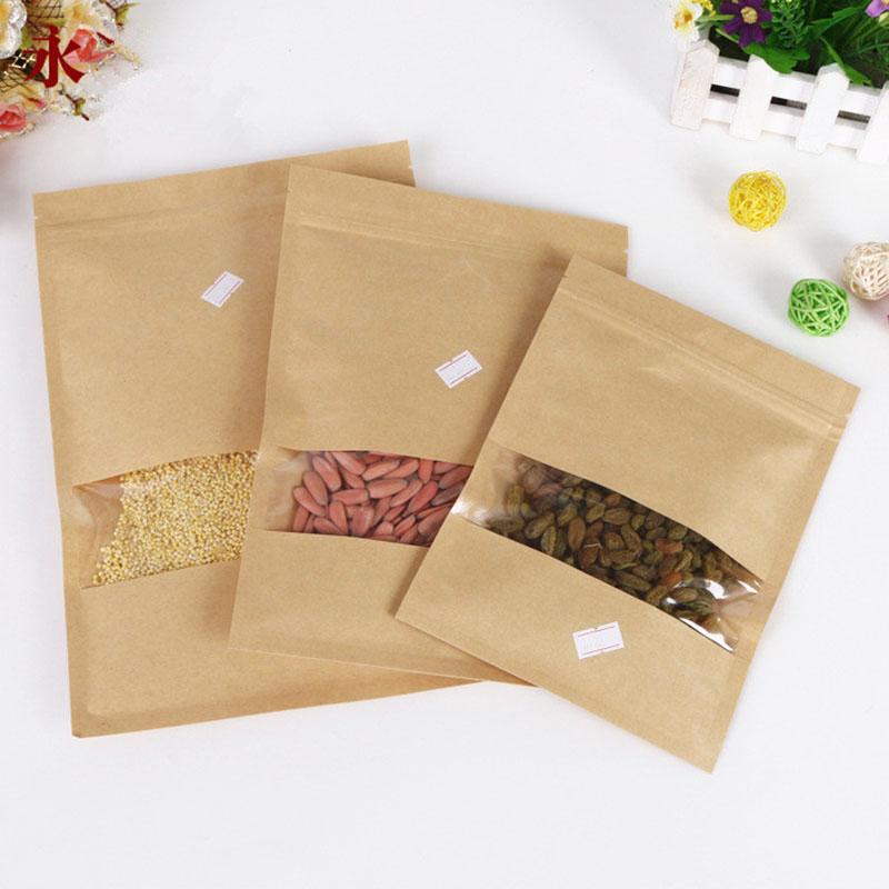 Leak Sealing Kraft Bag : Pcs kraft paper food bags with window self sealing