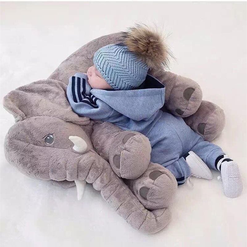 Long Nose Elephant Doll Pillow Soft Plush Stuff Lumbar