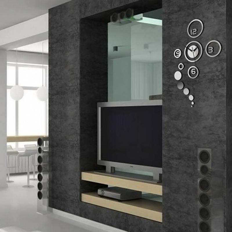 wall crystal mirror clock home modern decoration living room sticker