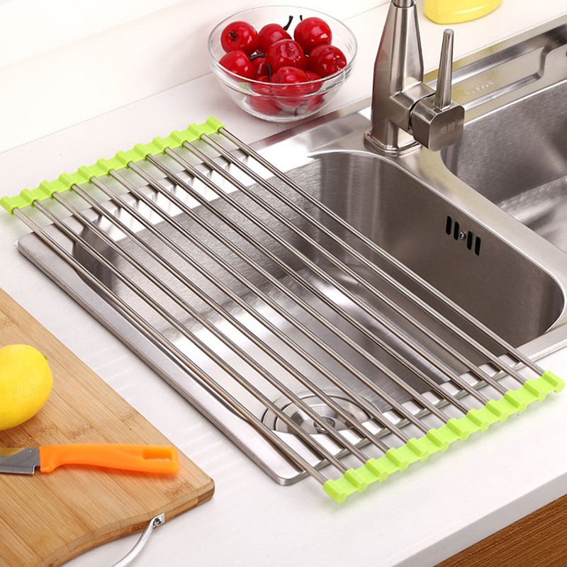 Kitchen sink storage dish drying rack holder fruit vegetable drainer colanders ebay - Kitchen sink drying rack ...