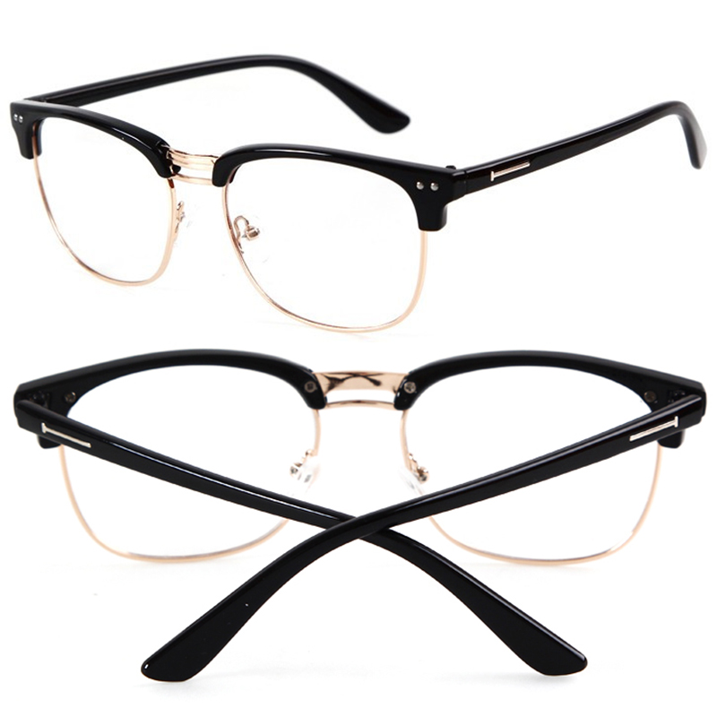 Retro Womens Mens Half Frame Clear Lens Glasses Nerd Geek ...