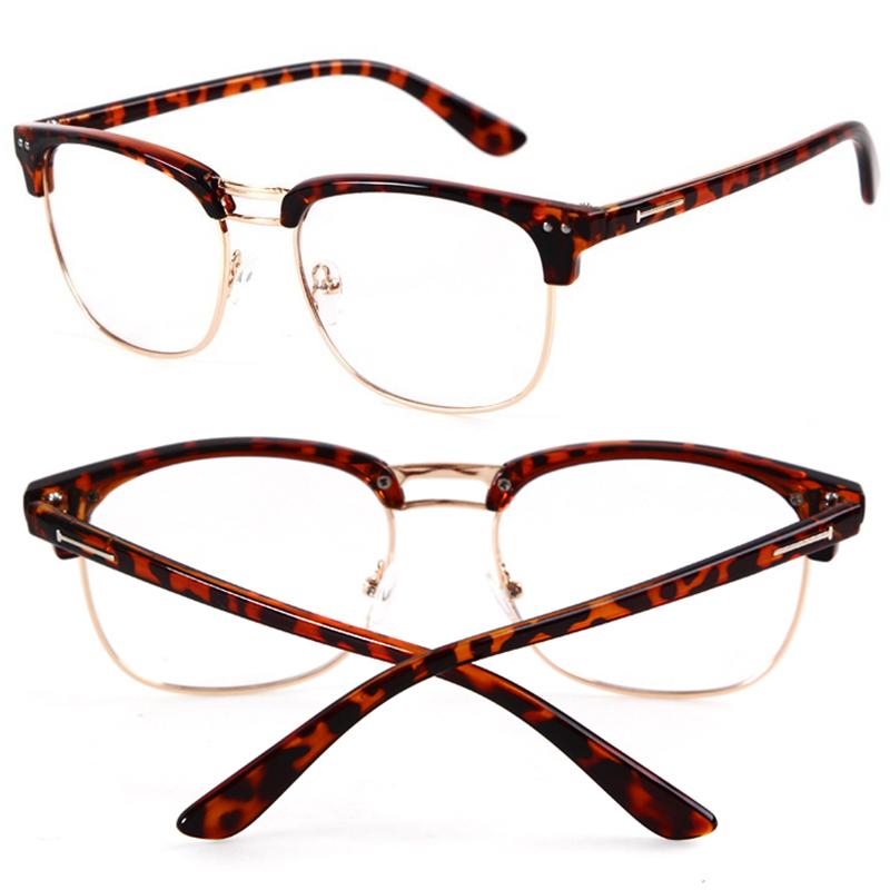 Half Frame Geek Glasses : Vintage Retro Half Frame Clear Lens Fashion Glasses Nerd ...