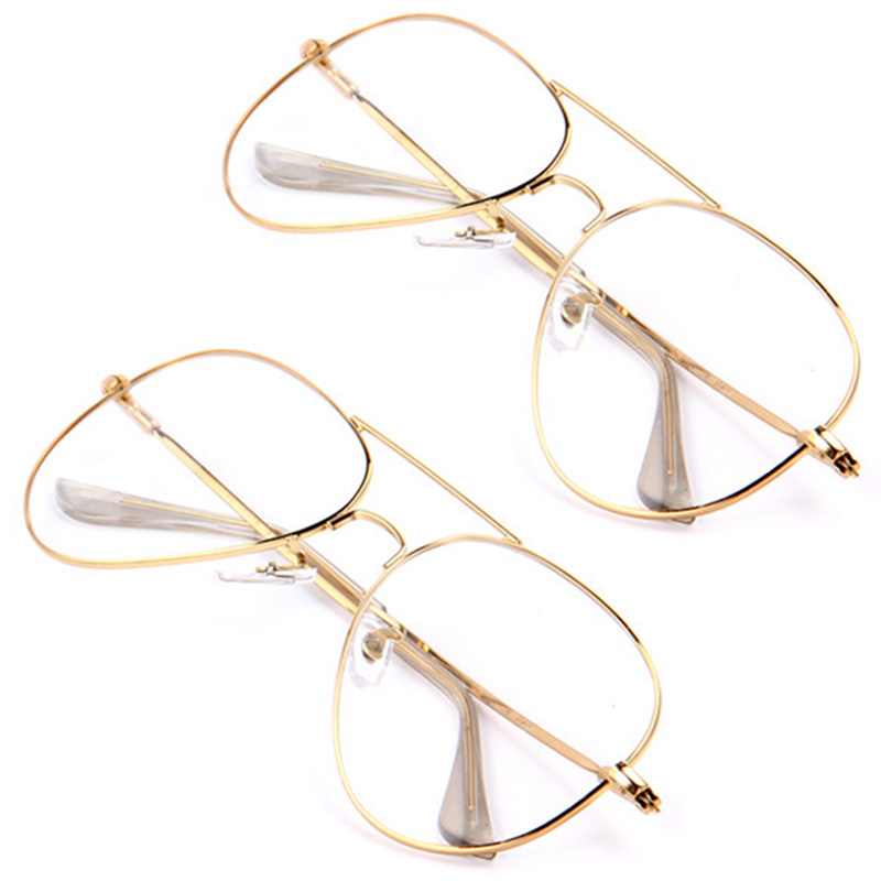 Gold Frame Vintage Glasses : Unisex Gold Big Round Metal Frame Clear lens Fashion ...