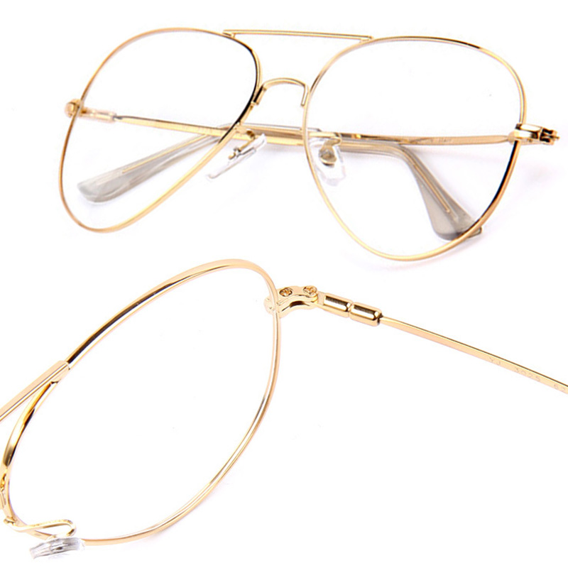 Unisex Gold Big Round Metal Frame Clear lens Fashion ...