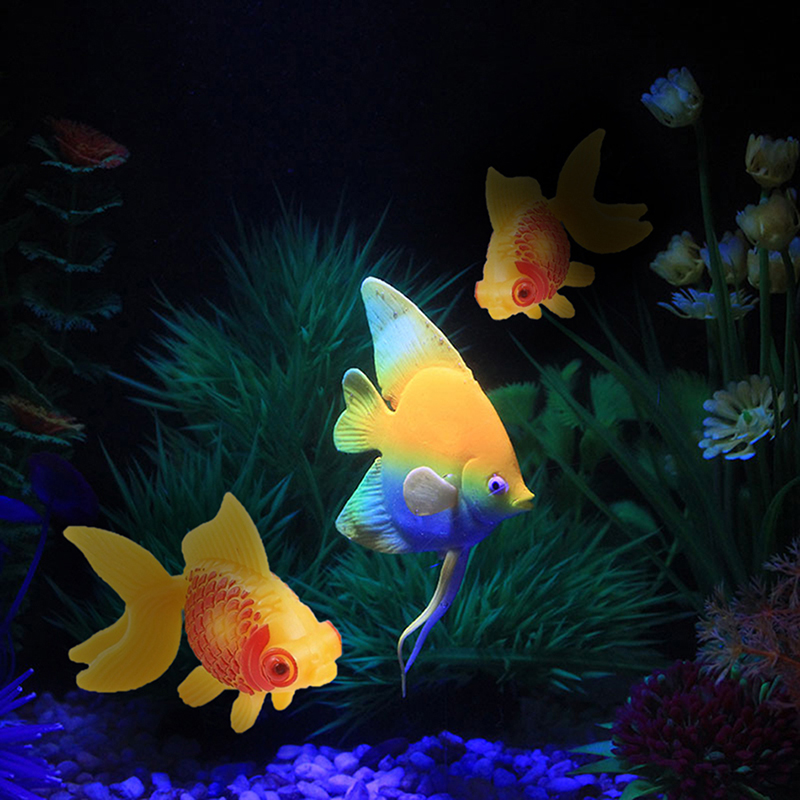 3pcs aquarium fish tank plastic swimming faux gold fish for Fake fish that swim