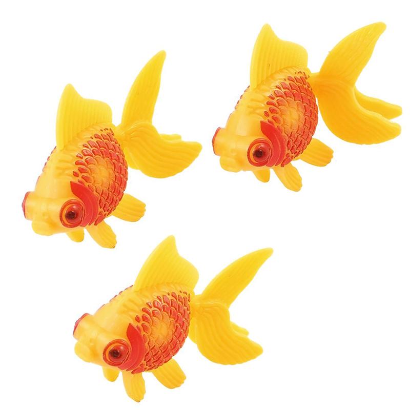 1 X Aquarium Fish Tank Plastic Swimming Faux Fake Gold