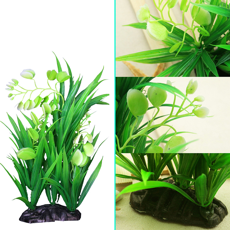 Artificial plastic fake green plant grass for fish tank for Fake pond plants