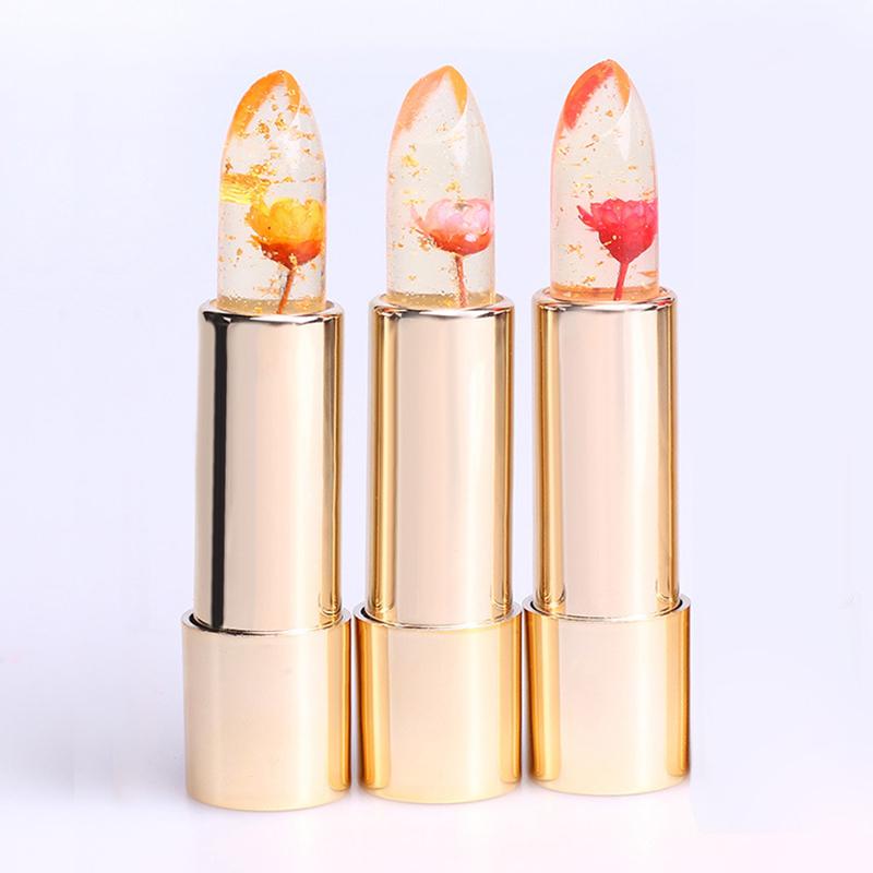 Beauty Jelly Flower Lipstick Color Changing LipGloss Moisturizing ...