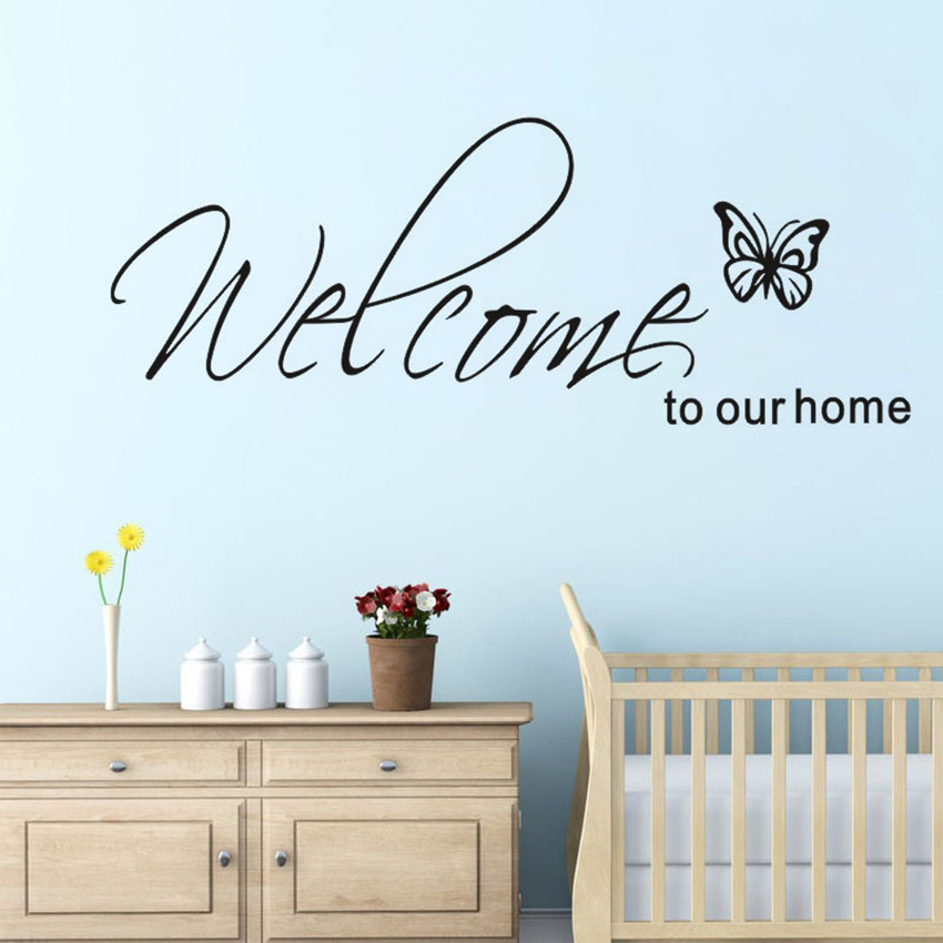 Welcome To Our Home Butterfly Wall Art Sticker Vinyl
