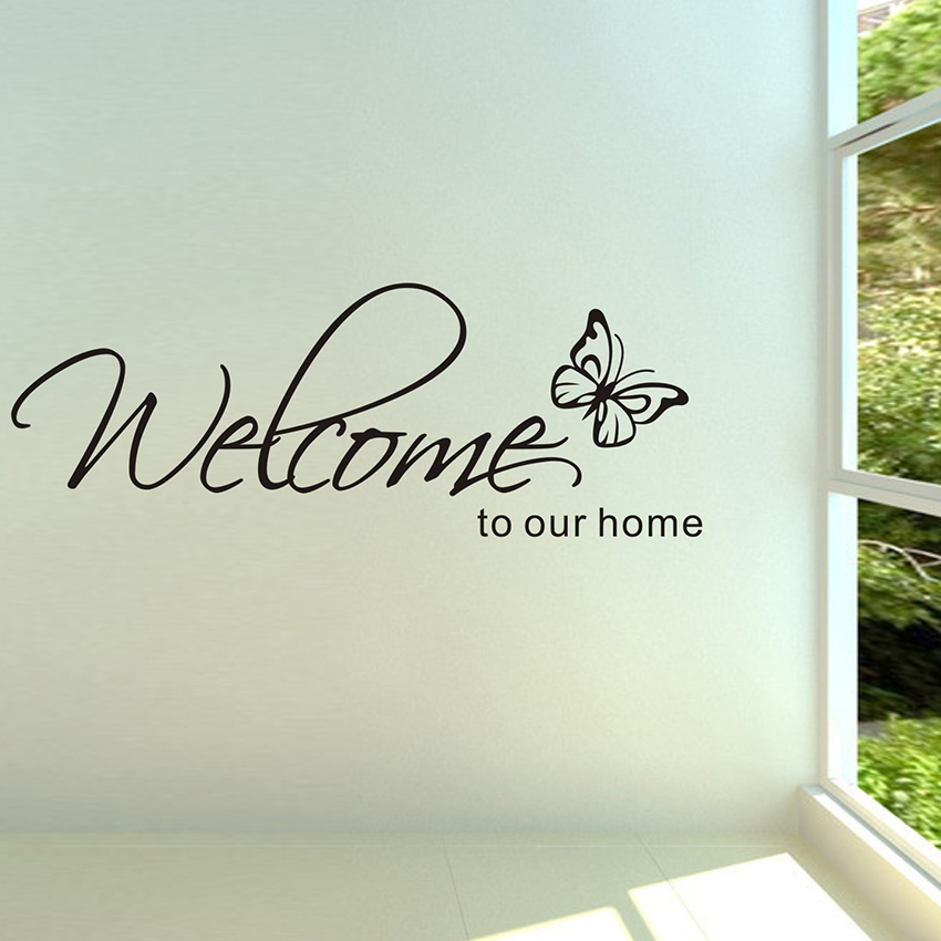 Welcome To Our Home Butterfly Wall Art Sticker Vinyl Stickers Decal Home Decor Ebay
