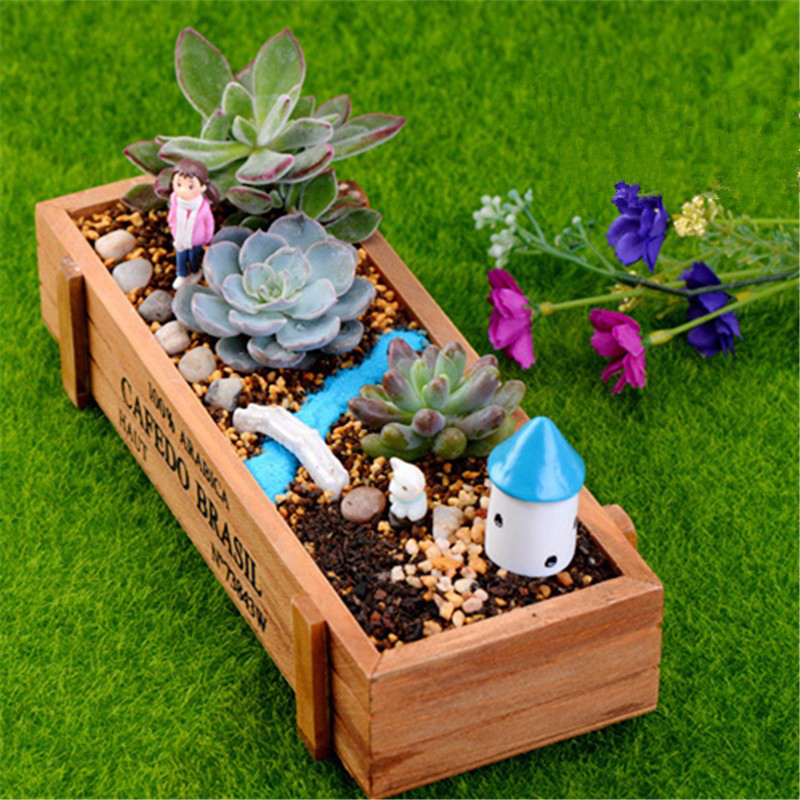 New wood planter garden yard rectangle flower plant bed for Garden maker online