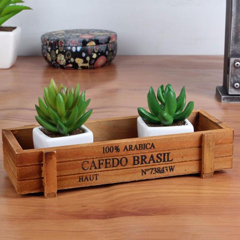 Wood planter garden yard rectangle flower succulent bed trough plant pot box ebay - Rectangular succulent planter ...