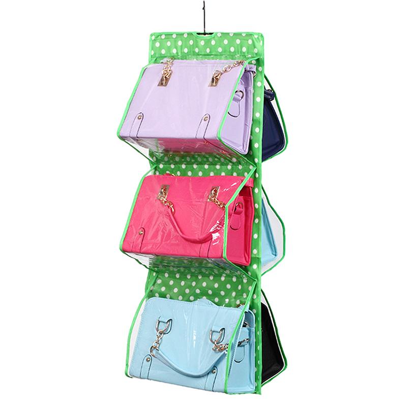 6 pocket shelf purse handbag hanging tidy organizer - Handbag hanger for closet ...