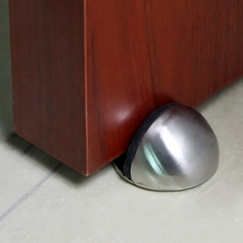 Rubber door stop holder wall floor mount stopper door wedge chrome nickel screws ebay - Door stoppers rubber ...