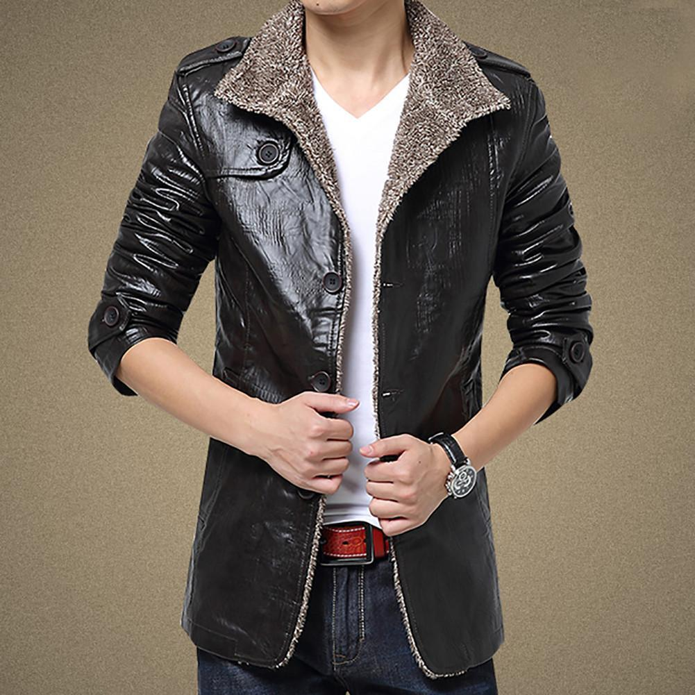 Fashion Men's Warm Jacket Faux Leather Coat Fur Parka Fleece ...