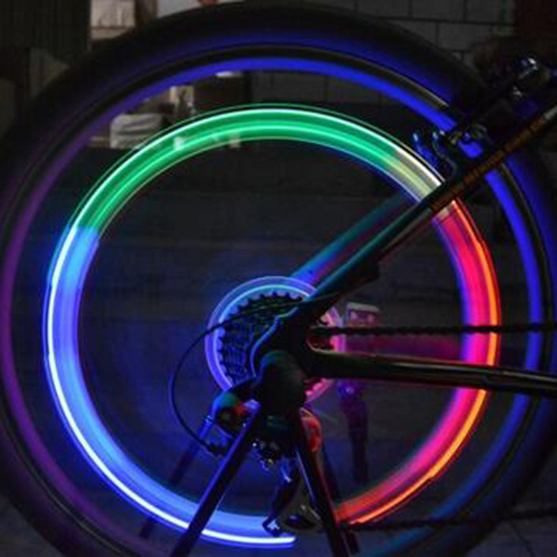 2Pcs Color Changing LED Bike Wheel Light Air Tap Lamp Night Light Bulb Bicycle Accessories