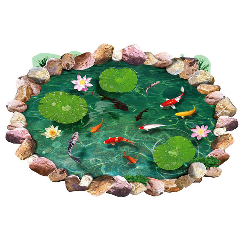 3d lotus boden pool herausnehmbar wandtattoo vinyl kunst for Pool design aufkleber