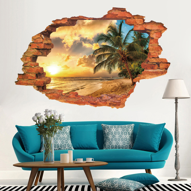 Removable 3d wall hole sea beach window wall sticker mural for Beach wall mural sticker
