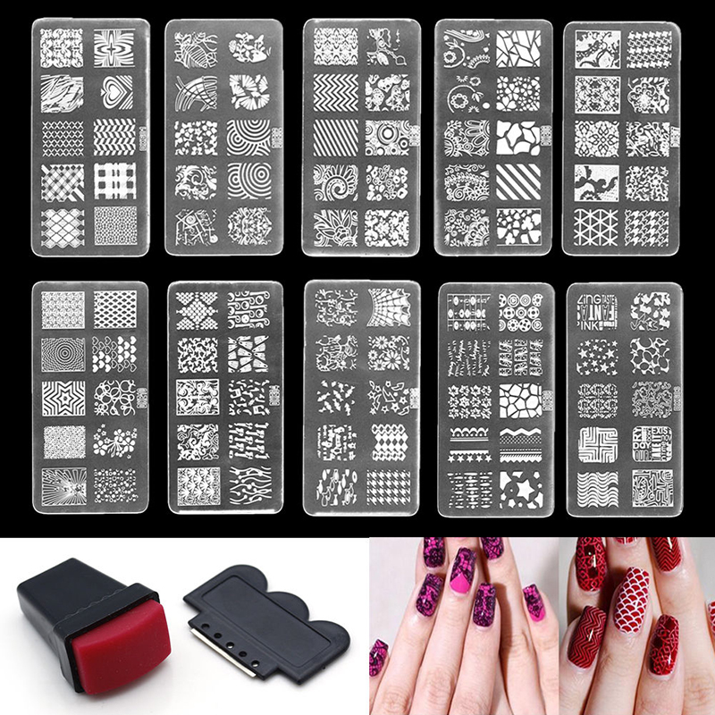 Nail Art Kit With Stamping: Nail Art Stamp Stencil Stamping Template Plate Set Tool