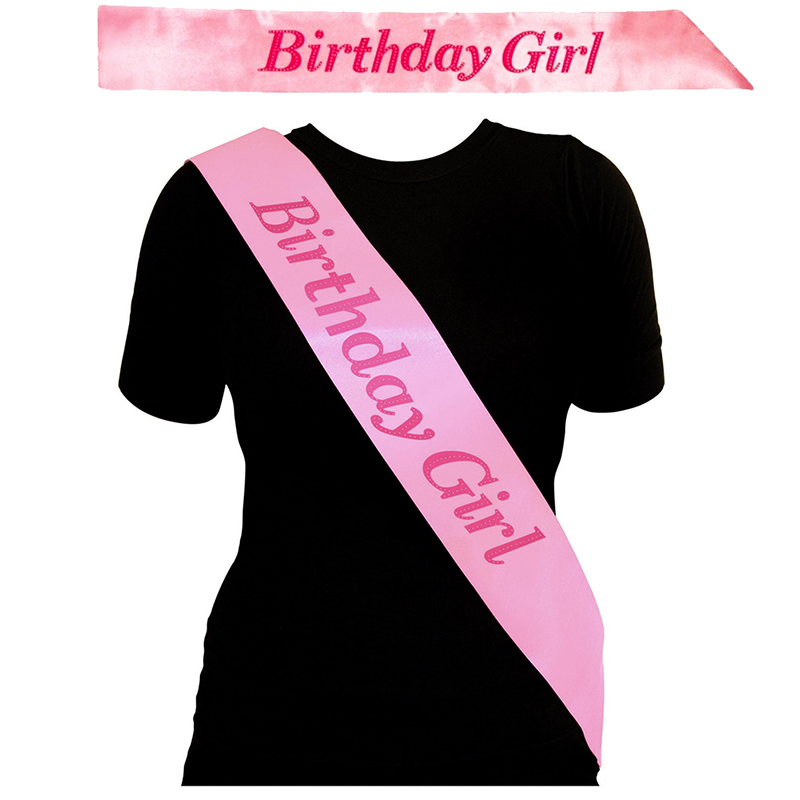 Funny BIRTHDAY GIRL Sash In PINK Birthday Party Accessory
