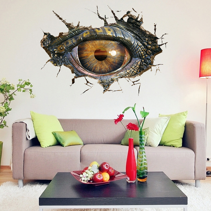 3d big dinosaur 39 s eye wall sticker decal art decor vinyl for Art room door decoration