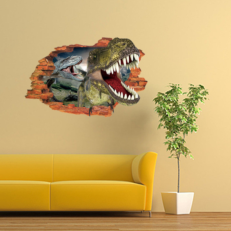 3d two dinosaurs wall sticker decal art decor vinyl home for Decor mural 3d