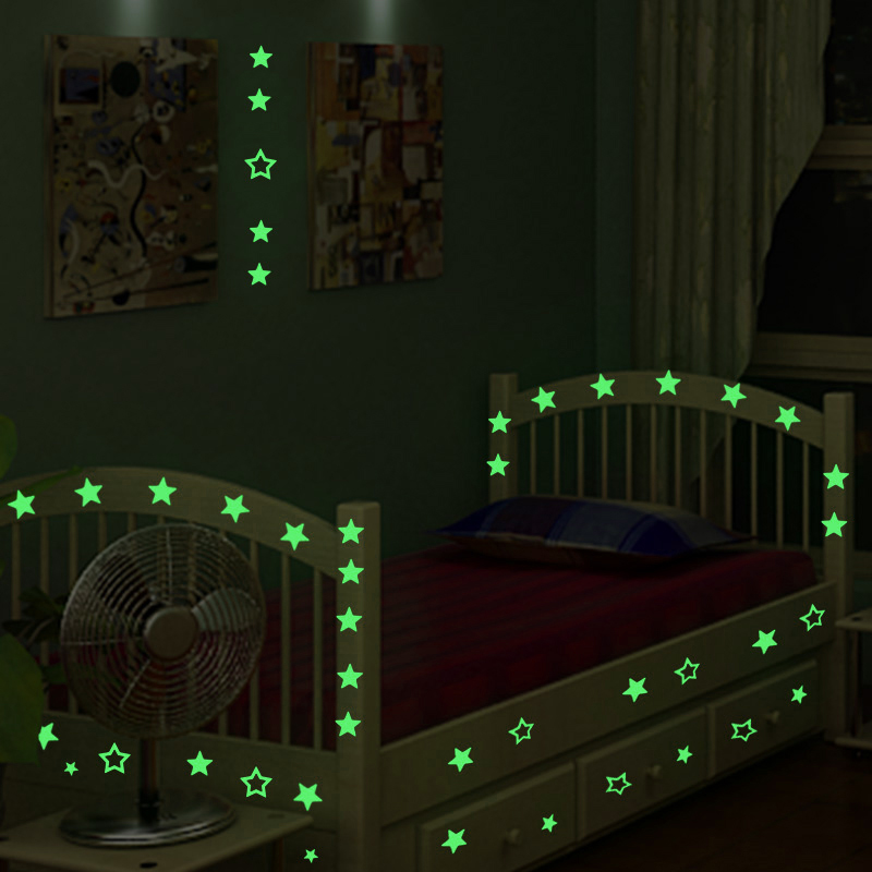 100pcs 3d stars glow in the dark diy bedroom home wall for Luminous bedroom