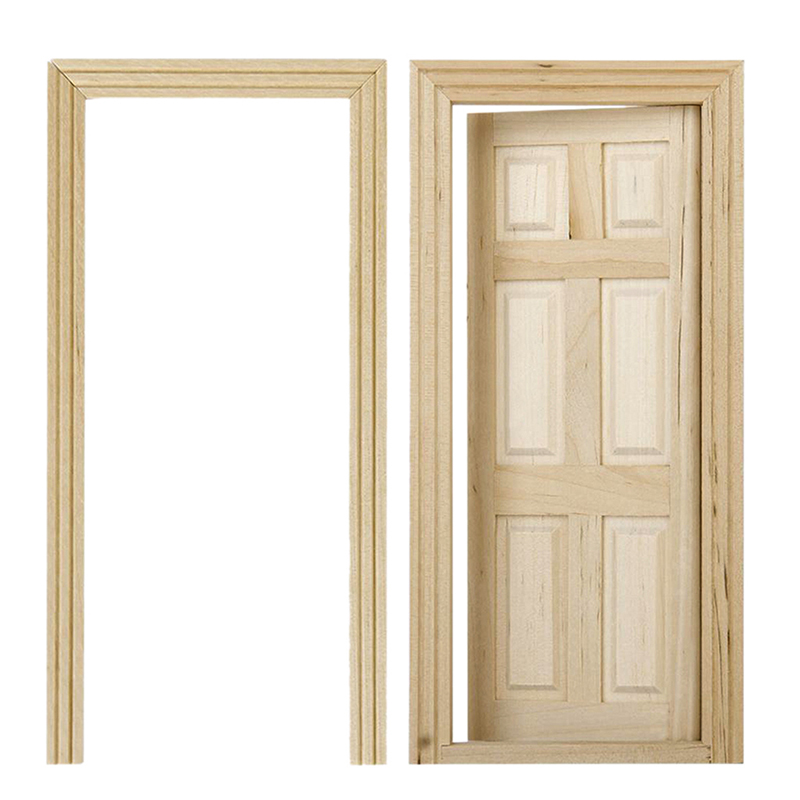 Interior Wood Doors With Metal Frames: 1/12 Dollhouse Miniature Unpainted Wooden Interior 6-Panel