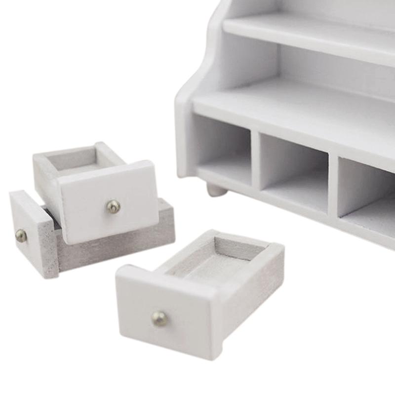 Dollhouse Miniature Furniture Wooden Toilet Bathroom Shelf Drawer Cabinet White Ebay
