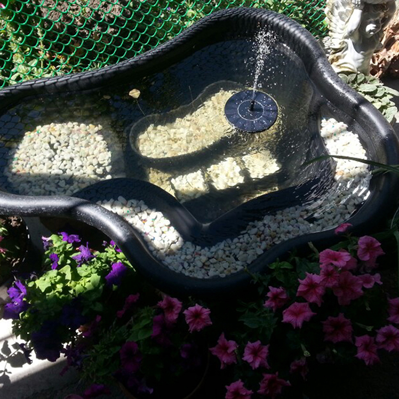 Small Water Garden Needs No Electricity Just Place Pots: 1Set Solar Powered Water Pump Garden Fountain Pond For