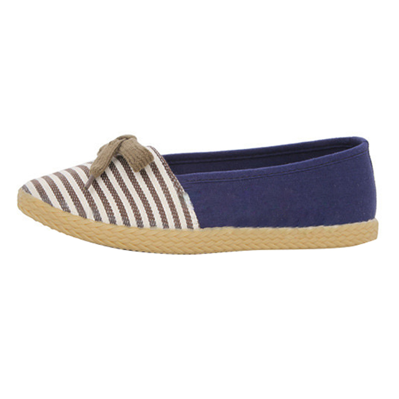 bowknot stripe canvas slip on espadrilles flat