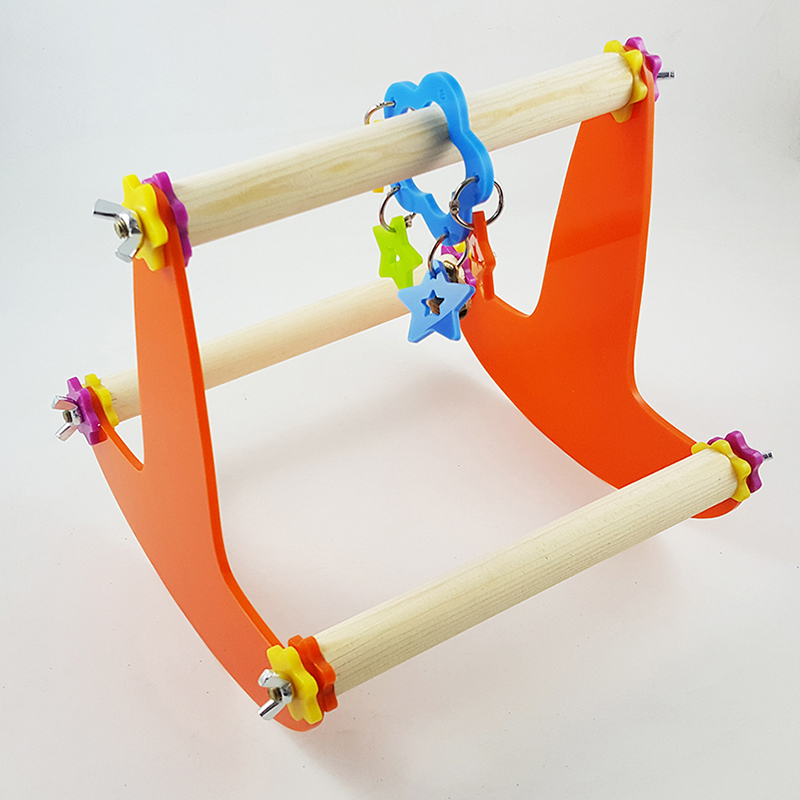 Bird Cage Toys : Wooden seesaw parrot standing perch bird cage toy for