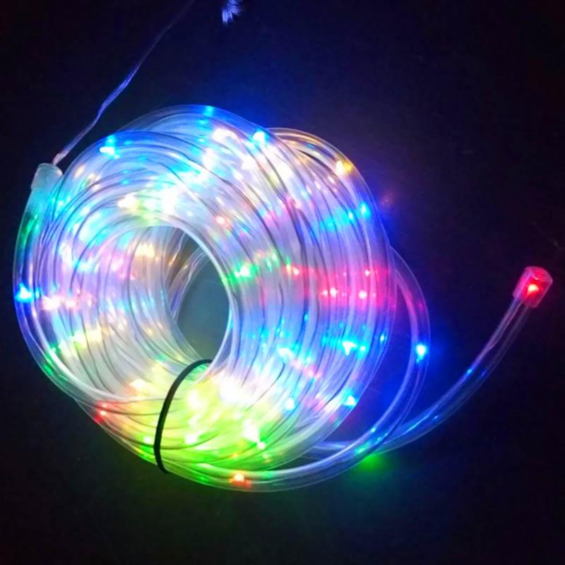 Solar Panel String Lights: 100 LED Solar Power Panel Rope Tube String Light Outdoor