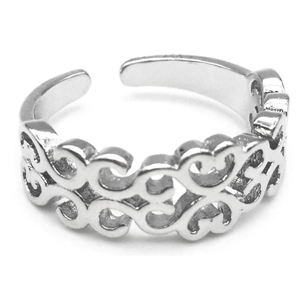 fashion s silver plated open hollow finger ring