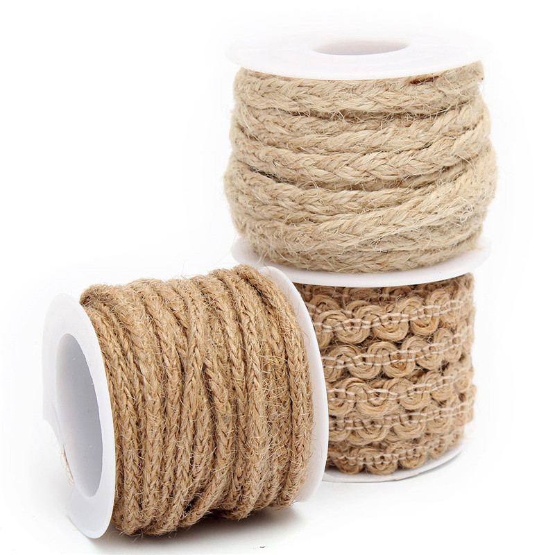 Jute burlap braided string hessian ribbon rope tape party wedding home decor ebay Home decoration with jute