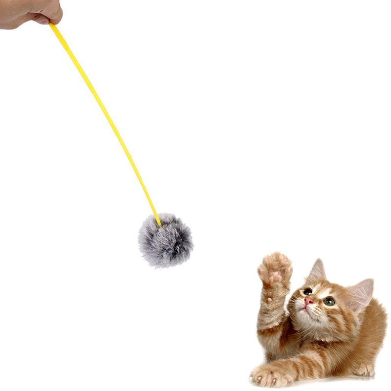 1x cat kitten soft hair ball teaser wand cat teaser play for Cat wand toys