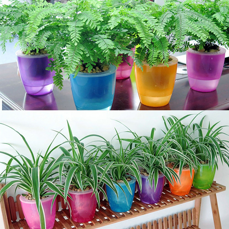 Cute Transparent Self Watering Planter Flower Pot For Home
