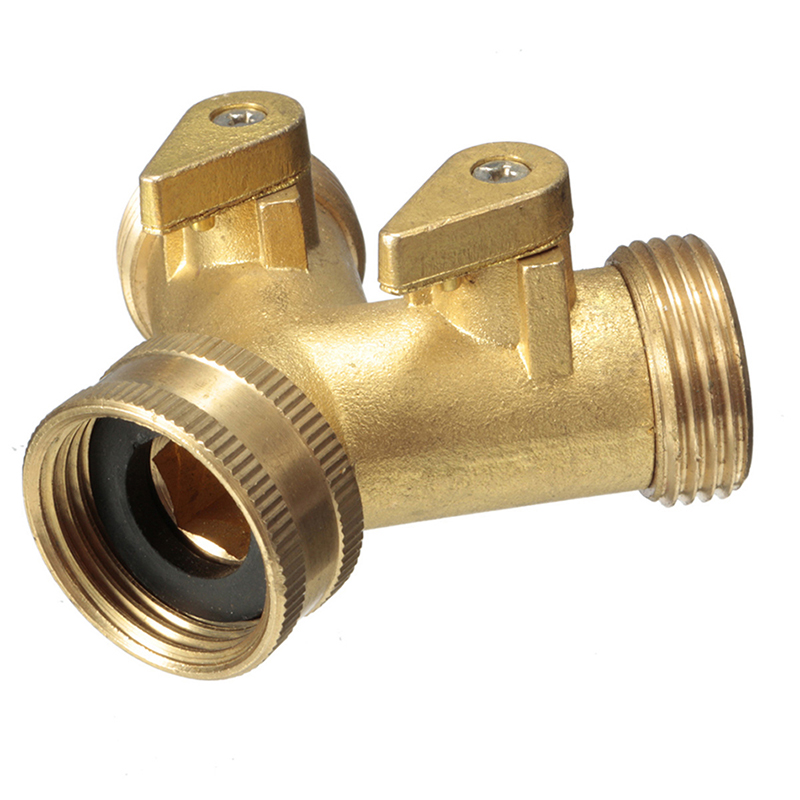 New brass garden two way tap connector adaptor hosepipe